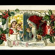 1910s John Winsch, Santa Peeks Around Door at Children, Applied Booklet Christmas Postcard #201