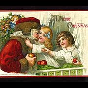 c1915 John Winsch, Happy Children Hug Santa, Embossed Christmas Postcard, #314