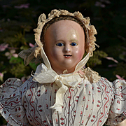 "21"" Early French Papier Mache Doll, Bamboo Teeth, Original Pink Tone Body and Fine Calico Dress"
