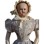 """21"""" Early French Papier Mache Doll, Bamboo Teeth, Original Pink Tone Body and Fine Calico Dress"""