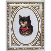 Cat with Attitude, Early Die Cut on Trade Card, Gleason's Magazine, Boston c. 1860's