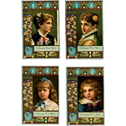 1881 Four Chromolitho Calendar Cards, Ladies, Children