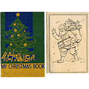 1936 Child's Christmas Coloring Book, Chicago Schools, Santa, Toys, Tree +