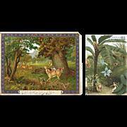 Fantasy Elves Woodland Hunt & Frolic, 2 Early Chromo Cards, De la Rue