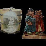 2 Victorian Die Cut Trade Cards, Bears / Dog, Sunlight Soap, Wine