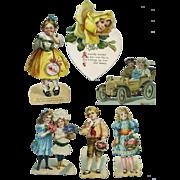 Group of Vintage Die Cut Cards & Scrap, Children, Flower Head ++