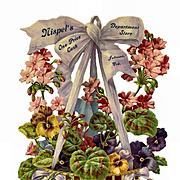 Huge 12 x 8 Victorian Advertising Die Cut Hanging Basket of Begonias / Pansies