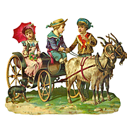Victorian Children in Goat Drawn Carriage, Exceptionally Nice Embossed Die Cut