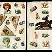 Children, Cherubs, Flowers 2 c. 1880's Scrapbook Pages #10