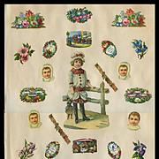 Girl / Doll, Tiny Christmas Motto / Flowers / Birds c. 1880 Scrapbook Page #11