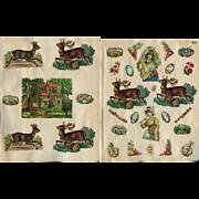 Wild Roebuck / Deer, Sea Shells, Gypsy, Christmas Motto, etc.2 c.1880s Scrapbook Pages #12