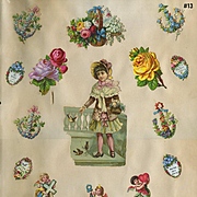 Girl Feeds Birds, Mini Mottos, Winged Cherubs Die Cuts, c.1880s Scrapbook Pg #13