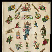 Winged Fairy, Nativity Angels, Wise Men, Neptune Cherub, Die Cuts on 1880s Scrapbook Pg #17