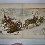 c. 1895 Santa Claus Snowy Sleigh Ride, Tree, Toys Large Book Print