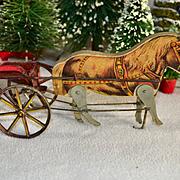 c. 1910 Gibbs Lithographed Walking Pony Pulling Tin Cart