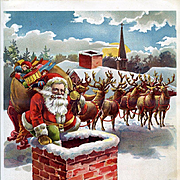 c.1900 Santa Rooftop Chimney Toy Delivery, Reindeer, Large Children's Book Plate