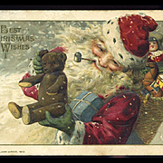 1914 Winsch Christmas Postcard, Smiling Santa Has Teddy Bear and Toys
