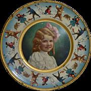 1907 Winter Themed Tin Litho Plate, Kids & Bears Snowball Fight, Union Pacific Tea Co.