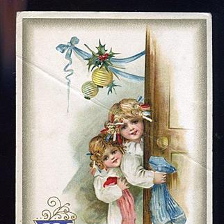 1911 Winsch Christmas Postcard, Little Girls with Stockings