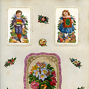 c. 1880 Victorian Scrapbook Page; 3-D Die Cuts on Paper Lace Cards, Hidden Messages, Boy w Noah's Ark, Girl w Doll #112