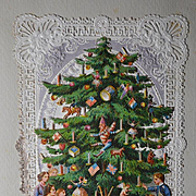 c.1880 Christmas Tree Die Cut, Kids, Toys, Doll, Hidden Greeting, on Early Paper Lace Card  #106
