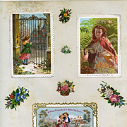 c.1880 Three Early Christmas Cards on Scrapbook Page, Children in Snow, Exc. Cond.