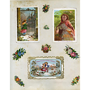 c.1880 Three Early Christmas Cards on Scrapbook Page, Children in Snow, Exc. Cond. #117