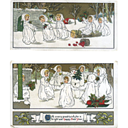 c. 1913 Little Winter Girls in White Robes Play in Snow, Christmas Postcards