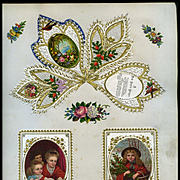 c.1880 Three Early Cards, New Year Greeting, Holly, Children, Embossed Gold Cards #118