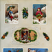 c.1880 Five Early Chromolitho Cards on Scrapbook Page, Paper Lace, Winter Scenes, Exc. Cond.
