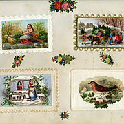 c. 1880 Four 3-D Die Cuts on Early Christmas Cards, Fairy in Shell Boat, Cutting Tree, Lady in Window