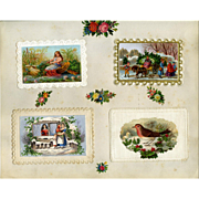 c. 1880 Four 3-D Die Cuts on Early Christmas Cards, Fairy in Shell Boat, Cutting Tree, Lady in Window #115