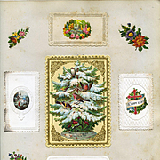 c1880 Scrapbook Page, Robins in Snowy Tree, Gold Trim Paper Lace, 5 Early Christmas Cards