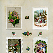 c1880 Scrapbook Page, 4 Early Christmas Cards, Santa Riding Horse, Holly, Winter Scenes