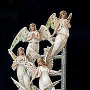 c1880s Angels Ascending, Descending Ladder, 7 inch Die Cut