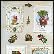 c.1880 Scrapbook Page, Small Pop Up Scene Card, Die Cuts, Paper Lace