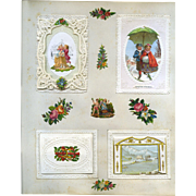 c.1880 Scrapbook Page, Small Pop Up Scene Card, Die Cuts, Paper Lace  #124