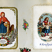 c1880 Early Christmas Cards, Red Riding Hood & Wolf Die Cut, Girl Feeding Birds