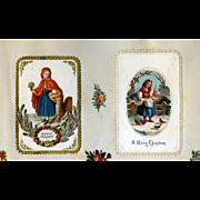 c1880 Early Christmas Cards, Red Riding Hood & Wolf Die Cut, Girl Feeding Birds #112