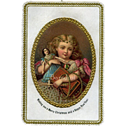 c. 1880 Die Cut Litho of Girl with Doll, Toys, Opens to Hidden Flowers, Embossed Gold, Beautiful, Scrapbook Page with Early Cards