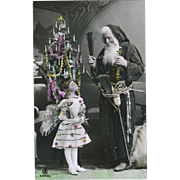 Santa, Decorated Tree, Big Eyed Little Girl, German Real Photo Christmas Post Card