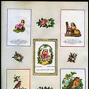 c.1880 Scrapbook Page, Early Christmas Cards, Die Cuts Girl, Doll, Holly, Robins, Embossed #122