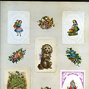 c.1880 Scrapbook Page, Early Christmas Cards w Die Cuts, Anthropomorphic Elephant Drinking, Girls with Dolls #128