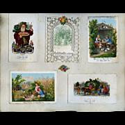 c.1880 Scrapbook Page, Early  Christmas Cards, Santa Brings New Year Meal, Die Cuts #120