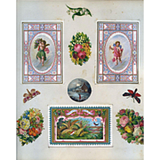 c.1880 Scrapbook Page, Early Christmas Cards, Marcus Ward Cherubs, Flowers, Woodland Fauna #129