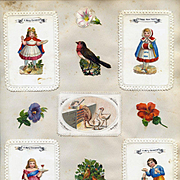 c. 1880 Scrapbook Page, Early  Christmas Cards, Die Cuts of Children, Doll, Boy Playing Cards, Holly #130