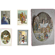 c.1880 Scrapbook Page, Early Christmas Cards, 3-D Die Cut scene, Children, Robins in Snow #151