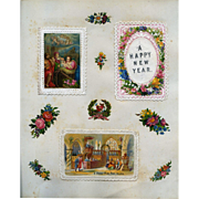 c 1880 Scrapbook Page, Early Die Cut Christmas Cards, Chromolitho Nativity, Floral Mat #152