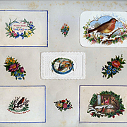c.1880 Scrapbook Page, Early Christmas Cards, Embossed  Die Cut Mats, Robins, Train #153
