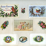 c.1880 Scrapbook Page, Early Christmas Cards, Winter Robins, Children Hug, Die Cuts #154